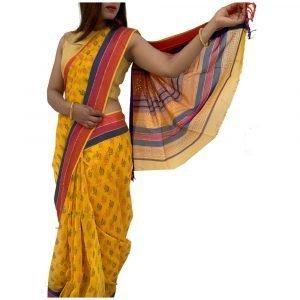 Maheshwari Silk Cotton Block Print yellow Saree