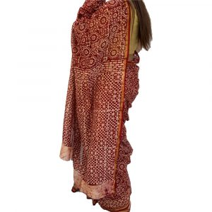 Maheshwari Silk Cotton Block print Dark Red Sarees