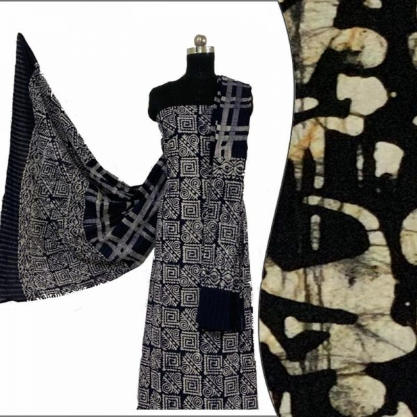 Hand Batik Print Black Salwar Suit Fabric- 100 % Cotton