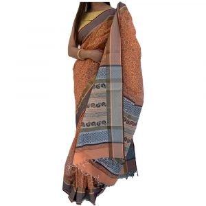 Maheshwari Silk Cotton Block Print Brown Saree