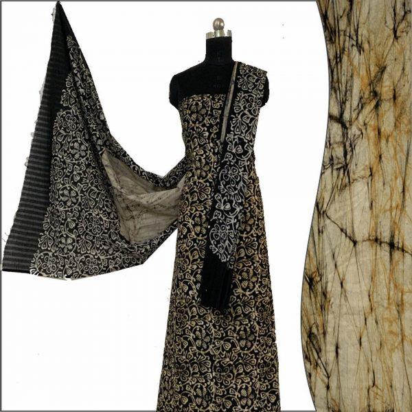Hand Batik Print Black & Ivory Suit Fabric- 100 % Cotton