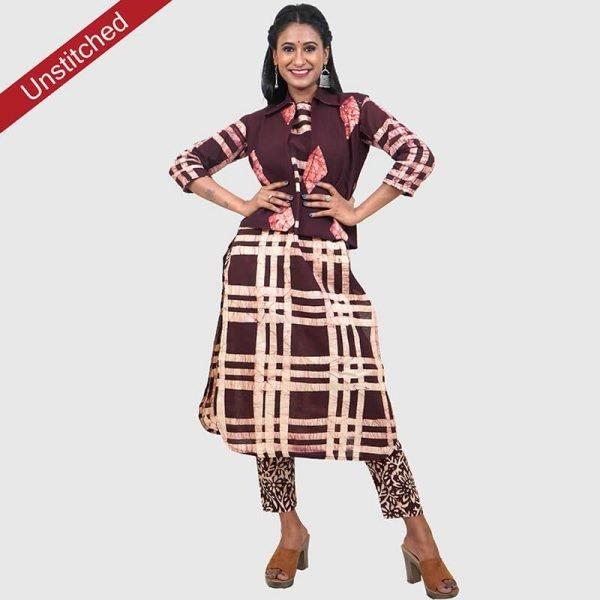 Batik Print Brown Unstitched Salwar Kameez (Salwar Suit)