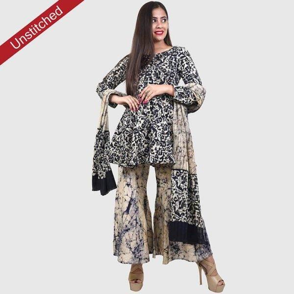 Batik Print Black Ivory Unstitched Salwar Suit