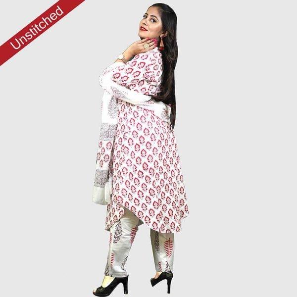 Block Print Red Color Unstitched Salwar Suit