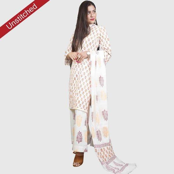 Block Print Yellow Color Unstitched Salwar Suit