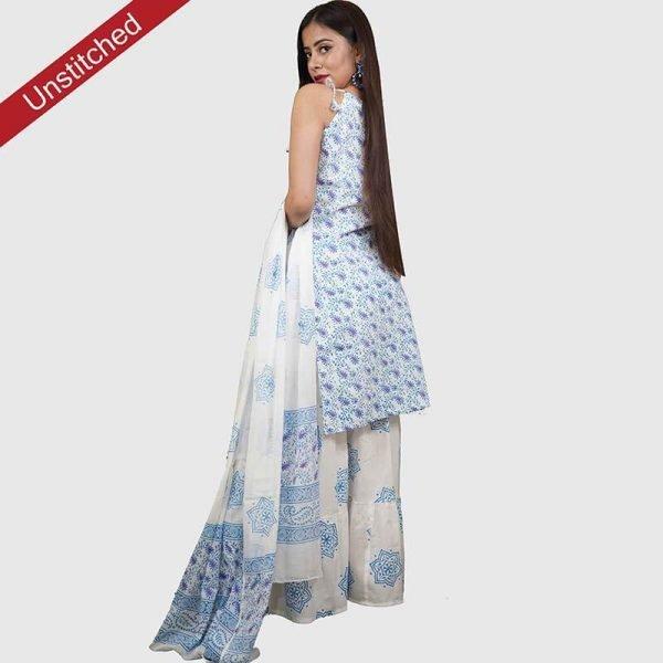 Block Print White-Blue Color Unstitched Salwar Suit