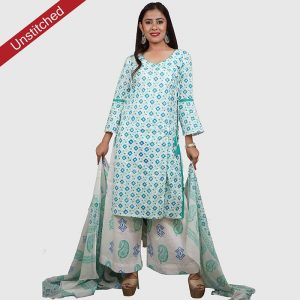 ब्लॉक प्रिंट सलवार कमीज और मलमल दुपट्टा