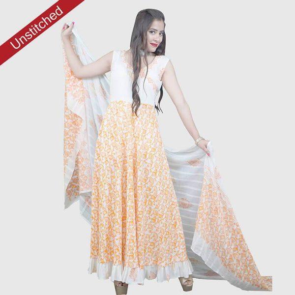 Block Print Salwar Suit (White and Orrange Color)