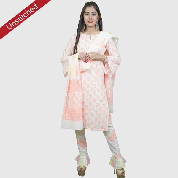 Block Print Unstitched Salwar Suit (White & Red)
