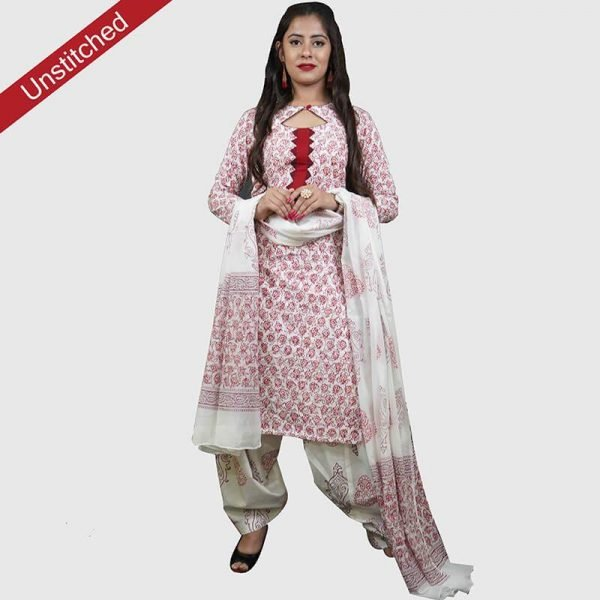 Block Print Salwar Suit (White and Red)
