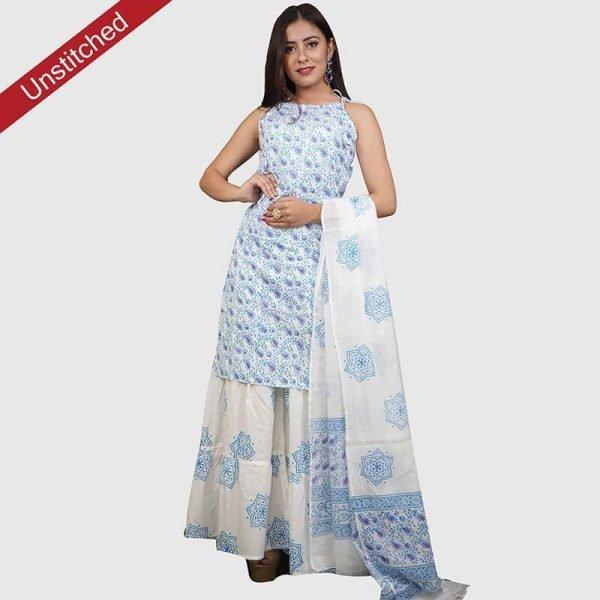 Block Print Unstitched Salwar Kameez with Malmal Dupatta Suit