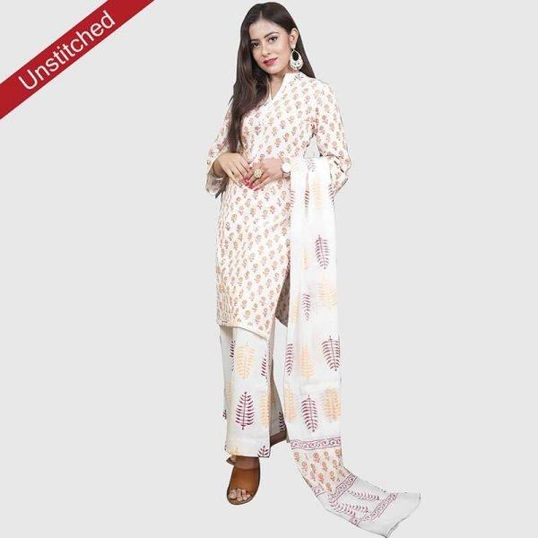 Block Print White Colour Unstitched Salwar Kameez With Malmal Dupatta