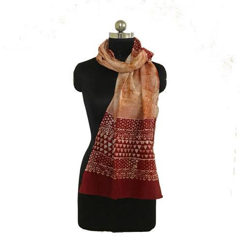 Hand Batik Print Red Ivory Premium Stole