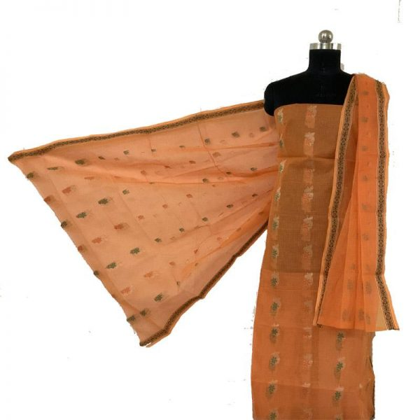 Kota Doriya orange & Mustard Color Suit-Dupatta Unstitched Fabric - 100% Cotton