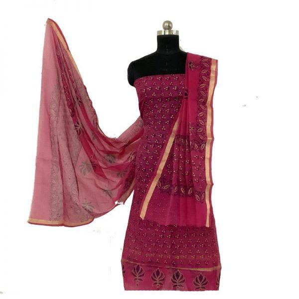 Kota Doria Premium Unstitched Dark Pink Color Suit-Dupatta Fabric - 100 % Cotton.