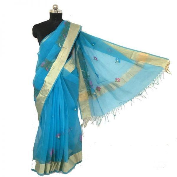 Hand Made Sky Blue color kota Doriya Saree - 100% Cotton