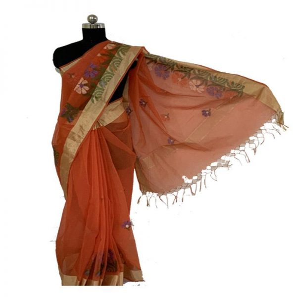 Hand Made Oange color Kota Doriya Saree - 100% Cotton