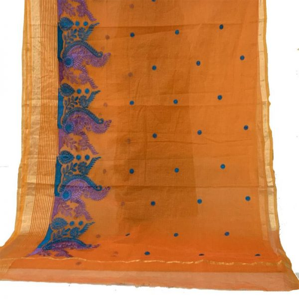 Orange Color Kota Doriya Saree With Stylish Border and Buties - 100% cotton