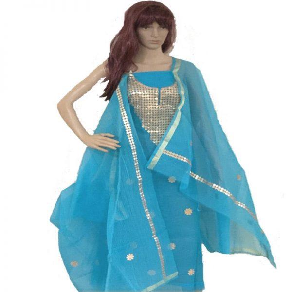 Kota Doriya Sky BLue Color Suit-Dupatta Unstitched Fabric - 100% Cotton
