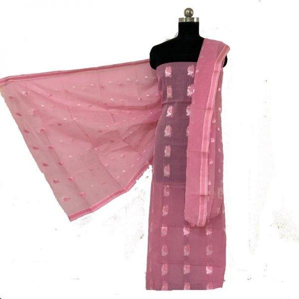Kota Doriya Pink Color Suit-Dupatta Unstitched Fabric - 100% Cotton