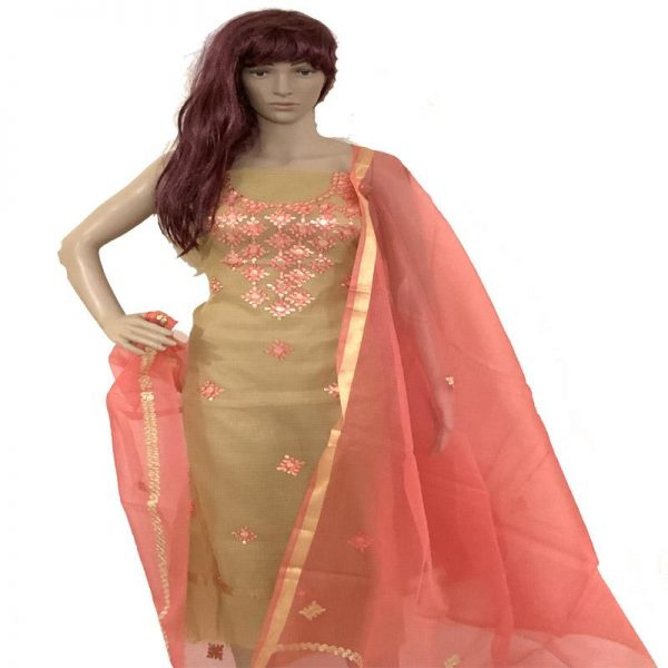 Kota Doriya Limeproof yellow & Peach Color Unstitched Suit-Dupatta Fabric - 100% Cotton