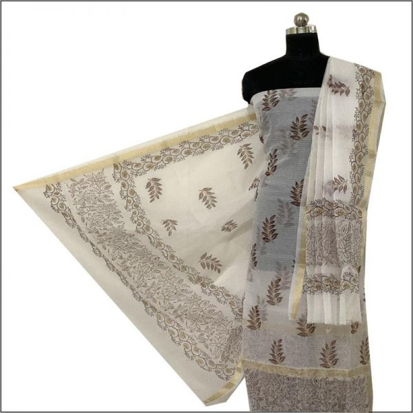 Kota Doria Premium Unstitched White Suit-Dupatta Fabric - 100 % Cotton