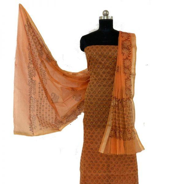 Kota Doria Premium Unstitched Orange Color Suit-Dupatta Fabric - 100 % Cotton
