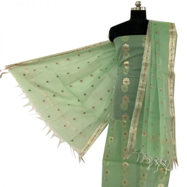 Kota Doriya Olive Green Kurta & Dupatta Fabric | कोटा डोरिया सलवार सूट