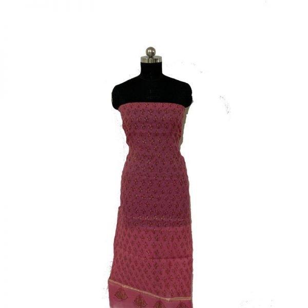 Kota Doria Premium Unstitched Light Maroon Color Suit-Dupatta Fabric - 100 % Cotton