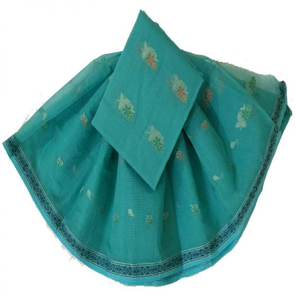 Kota Doriya teal  Color Suit-Dupatta Unstitched Fabric - 100% Cotton