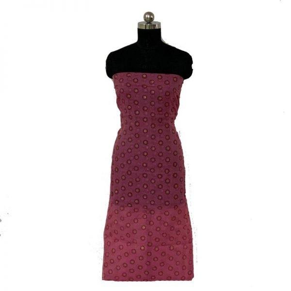 Kota Doria Premium Unstitched Dark Pink Color Suit-Dupatta Fabric - 100 % Cotton