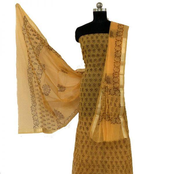 Kota Doriya Yellow Color Suit-Dupatta Unstitched Fabric - 100% Cotton