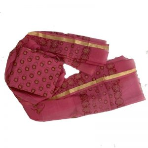 Kota Doria Premium Unstitched Dark Pink Red Suit-Dupatta Fabric - 100 % Cotton