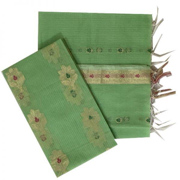 Kota Doriya Olive Green salwar kameez Unstitched Material set