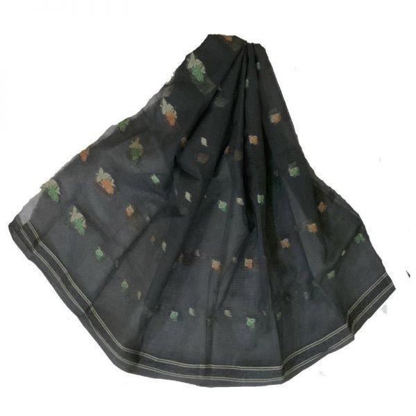 Kota Doriya black Color Suit-Dupatta Unstitched Fabric -100% Cotton