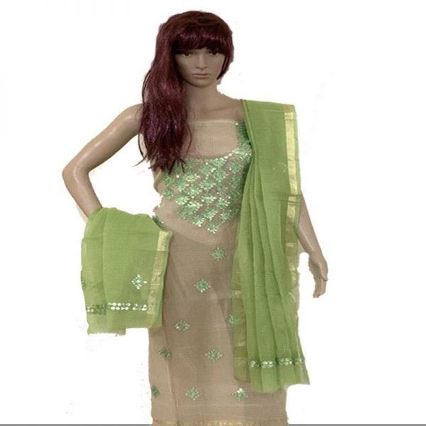 Kota Doriya Pistachio Green Color Kurta And Dupatta Unstitched Fabric