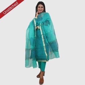 Kota Doria Unstitiched Sky Blue Salwar Suit