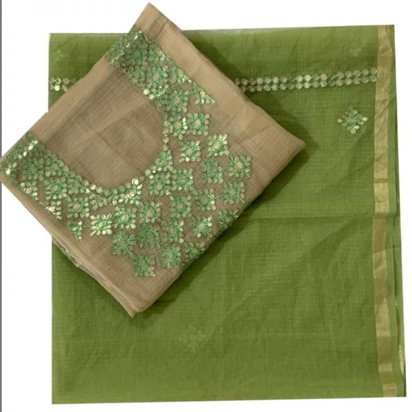 Kota Doriya Pistachio-Green Color Kurta-Dupatta Unstitched Fabric|कोटा डोरिया सूट मटेरियल सेट