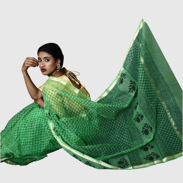 Handloom Kota Green Color Sarees