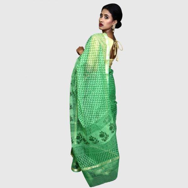 Handloom Kota Sarees Green Color