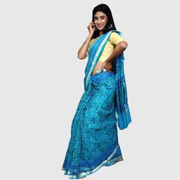 Handloom Kota Doria Blue Color Sarees