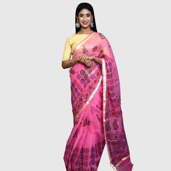 Handloom Kota Doria Saree (Pink)