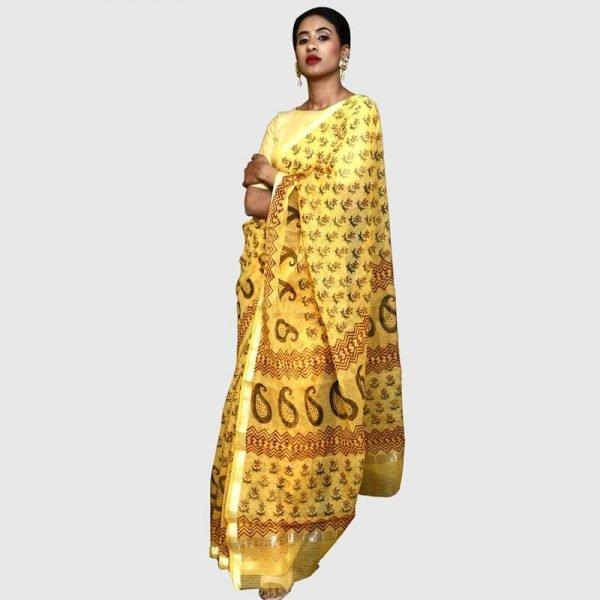 Handloom Kota Doria Yellow Color Saree