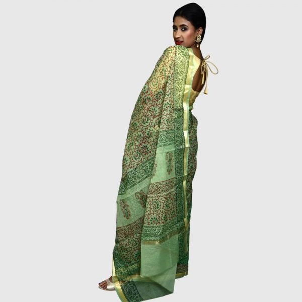 Kota Doria Saree Light Green Color