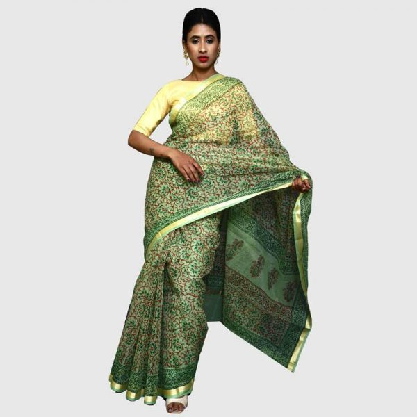 Handloom Kota Doria Sarees Green Color