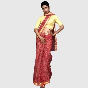 Hanloom Kota Doria Red-Black Color Sarees