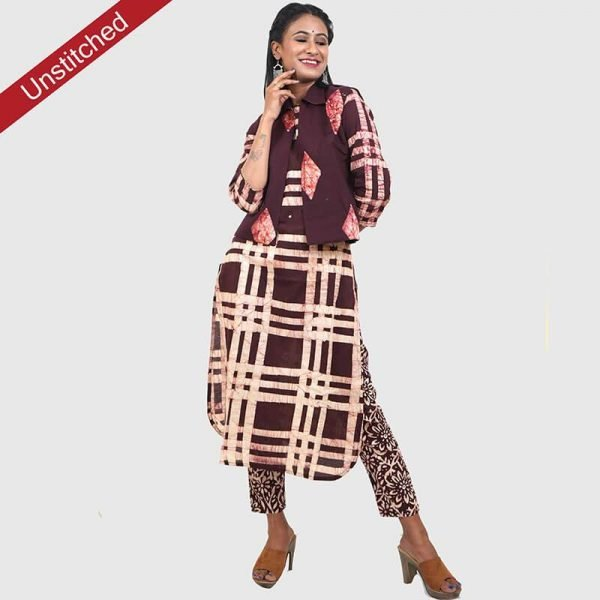 Batik Print Brown Color Unstitched Salwar Suit