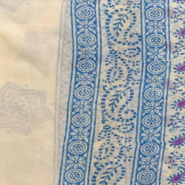 Block Print Salwar Kameez (White & Blue Violet)