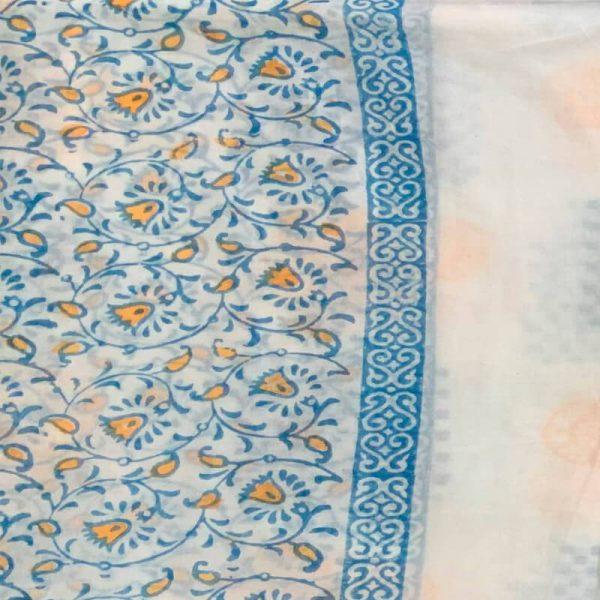 Block Print Ladies White Salwar Suit Fabric (Salwar Kameez) - 100 % Cotton