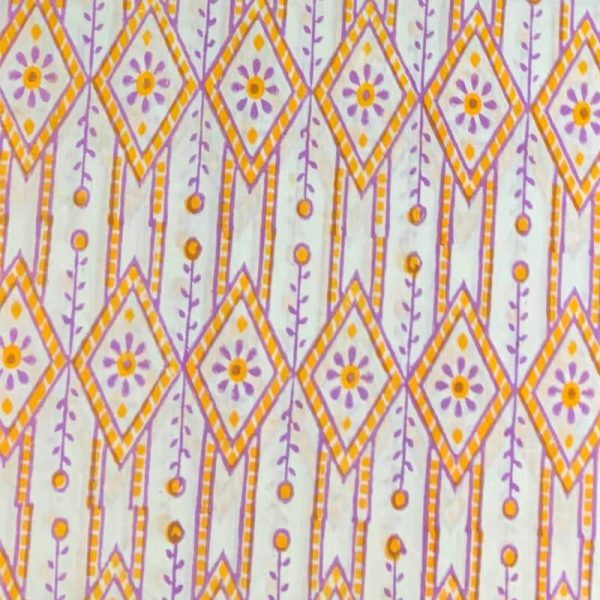 Block Print White & Orange Salwar Kameez
